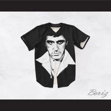 Tony Montana Scarface 20 Black and White Portrait Baseball Jersey