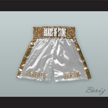 Roberto 'Hands of Stone' Duran White/Gold Boxing Shorts