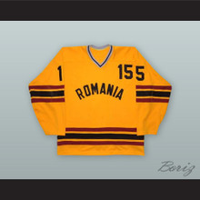 1980 Alexandru Halauca 15 Romania National Team Yellow Hockey Jersey