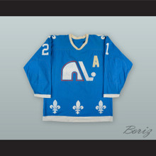 1977-78 WHA Serge Bernier 21 Quebec Nordiques Blue Hockey Jersey