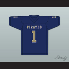 Calvin Jackson 1 Independence Community College Pirates Dark Blue Football Jersey