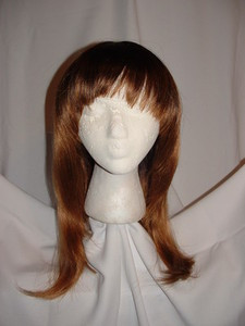 "Long Straight Thick Nutmeg Colored Wig, Layered Sides, 25"" Long, with Full Bangs"