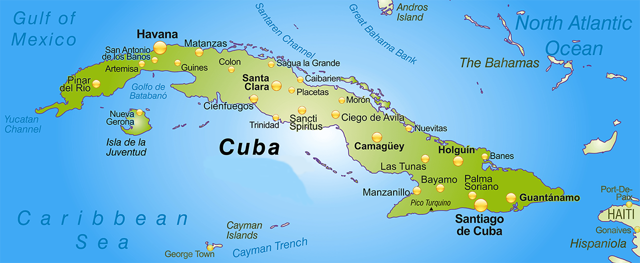 Travel - Cuba on us map
