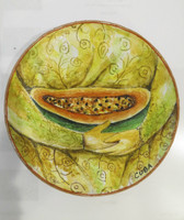 Martha Jimenez #6661.  Untitled, N.D. Hand painted cermaic plate. 6.5 inches diameter.