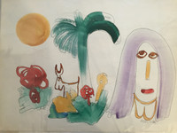Jose Fuster #29. Untitled, N.D. Watercolor on paper. 14.5 x 19.5 inches.