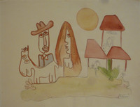 "Jose Fuster #31a. ""Cubanava,"" N.D. Watercolor on paper. 15.5 x 20 inches."