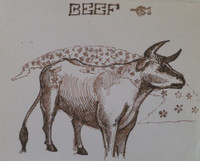 "Faife (Yudit Vidal Faife) #8060. ""Beef,"" ND. Ink on paper. 7.5 x 9 inches."