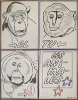 """Raúl Martínez #271. """"El, Tu, Los Animales"""", 1968. Work on paper, ink. SIGNED. 28.5 x 22.75 inches."""