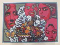 """Raúl Martínez #379. """"Flores y Frutas,"""" 1978. serigraph print edition 14 / 30.  20 x 25 inches."""