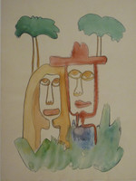 Jose Fuster #35.  Untitled, N.D. Watercolor on paper. 20 x 14.5 inches