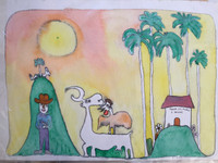 "SOLD! Jose Fuster #6. ""Tienda del pueblo,"" 1990. Watercolor on paper. 14.5 x 22 inches."