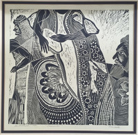 "Oscar Carballo #8. ""Carnaval,"" 1980. Woodcut print. 14.75 x 15.75 inches"