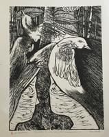 "Oscar Carballo #113. ""Cuentos de una familia campesina,"" N.D. Woodcut print. 16.5 x 13 inches."