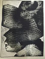 """Oscar Carballo #119. """"De la serie los Guajiros,"""" 1977. Linoleum print. 25 x 20 inches."""