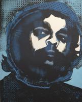 """Carballo (Oscar Carballo)  #680 . """"Che,"""" 1975. Linoleum print edition 2 of 15. 25 x 20 inches."""