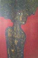 "Choco (Eduardo Roca Salazar) #6105. ""Mujer con hoja,"" 2014. Print 5/6.  29"" x 22."""