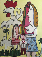 "SOLD! Jose Fuster #4914. ""la familia de Cuba,"" 2007. Oil on canvas. 25 x 20 inches."