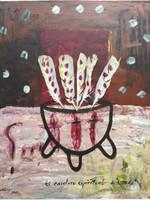 """Ernesto Ibanez #5137. """"El cardero espiritual de Cundo,"""" 2010. Mixed media/Oil on canvas. 20 x 16.5 inches."""