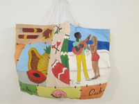 #6719. Hand painted bag, acrylic on canvas.