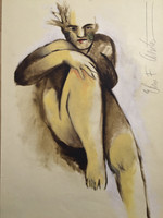 Elias Acosta #6159. Untitled, N.D. Colored wash on paper. 27.5 x 19.5