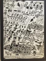 """Isabel De Las Mercedes #2079. 'Llo me yamo el puedelo todo,"""" 1989. Ink on paper. 19.5 x 13.75 inches."""