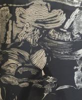 """Nelson Dominguez #40. 'Los primeros rebeldes,"""" 1975. Woodcut print. 22 x 19 inches"""
