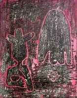 "Fuster (José Rodríguez Fuster) #82. ""Amor guajiro,"" N.D. Monotype print. 16.5 x 13 inches."