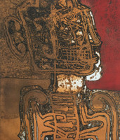 """Oscar Carballo #110. """"El musico y sus amigos,"""" 1986. Lithograph print. 19.5 x 23.5 inches."""
