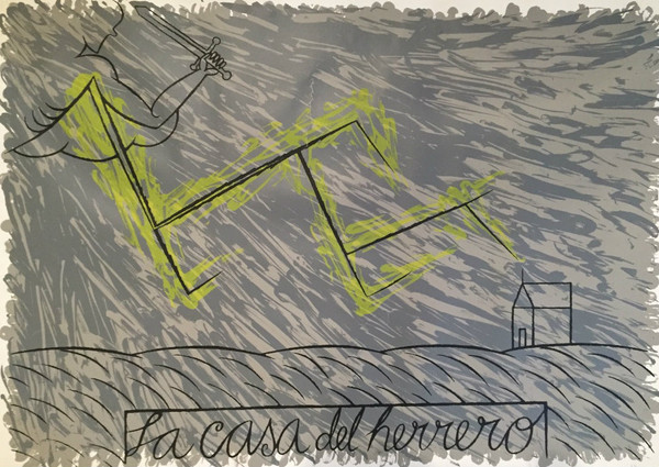 """La casa del herrero,"" Jose Bedia #298. 1988. Serigraph, edition 46 of 150. 20"" x 27.5""."