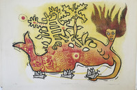 """Alfredo Sosabravo #139 . """"Sueno infantil #4."""" 1974. Lithograph print edition 2/10. 20 x 29 inches."""