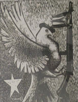 "Carmelo Gonzalez #150. ""Cuba millicina,"" N.D. Woodcut print edition 20 of 50.  13 x 12 inches."