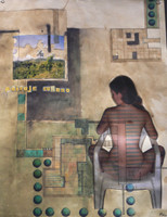 """Paisaije Cubano,"" Mabel Poblet #3986. 2006. Mixed media collage, Edition 4 of 12. 26"" x 21""."