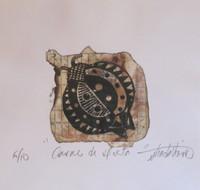 """Guillermo Estrada Viera #7057.  """"Carne de dieta"""", ND. Linoleum print, 6.5"""" x 6 3/4."""""""