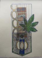 "Yamilys Brito Jorge #7080. Series: ""Bolsillos Cubans, Cadena de humo,"" 2013. Monotype, edition 1/ 1.  19.5 x 13.5 Inches."