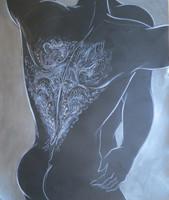 "Rocio Garcia #8002. Untitled, ND.Acrylic on black paper, 33"" x 28 inches"