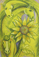 "Osvaldo Castillo #5610. ""Caballos y girasoles,"" N.D. Mixed media on paper. 16.5 x 11.5 inches."