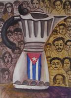 "Castillo (Osvaldo Castillo Vasquez) #5609. ""cafetera Cubana,"" 2011. Acrylic on paper. 9.5 x 13.75 inches."