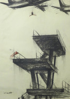 "Luis Albero Copperi #5601. ""El salto,"" 2012. Charcoal on paper. 39.25 x 27.5 inches"