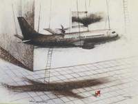 "Copperi (Luis Alberto Perez Copperi) #5600. ""Clase aconomica,"" 2010. Ink and charcoal onpaper. 18 x 24"