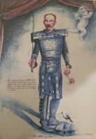 """Copperi (Luis Alberto Perez Copperi) #6016. """"De acero y flor,"""" 2013. printers ink on craft paper. 39.25 x 27.5 inches."""