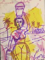 """Castillo (Osvaldo Castillo Vasquez) #6076a. Untitled, N.D. Ink and watercolor on paper. 10"""" x 6,5."""""""