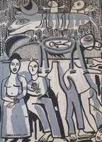 """Montebravo (José Garcia Montebravo)  #6097. """"Buscando Ewe,"""" 1993. Ink on paper. 19.5 x14.25 inches."""