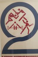 "Artist Unknown (CDR PCC OTE). ""II Juegos juveniles nacional,"" c1970. Silkscreen print. 30 x 20 inches."