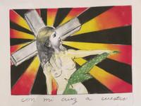 """""""Con mi cruz cuestas"""", Sandra Ramos #2914. No date. Print edition 3 of 10. 19.5"""" x 25""""."""