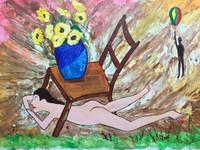 """Fito (Adolfo Flores Gonzalez) #2277. """"Por dibujo de la sila,"""" 2000. Acrylic on paper. 15 x 20 inches."""