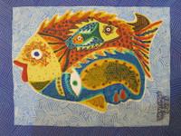 """Santiago Diaz Lopez #2303. """"Perfil y peces,"""" 2000. Oil on paper. 9.5 x 7.5 inches"""