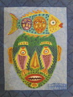 "Santiago Diaz Lopez #2304. ""Mascaras Marina,"" 2000. Oil on paper. 9.5 x 7.5 inches."