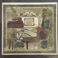 "Brito (Yamilys Brito Jorge) #3085. ""Serie: Recuerdos de la Habana,"" 2003. Mixed media collage: Xylograph, linoleum and Collagraph print, 13.25 x 14 Inches."