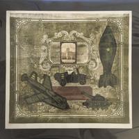 "Brito (Yamilys Brito Jorge) #3086. ""Serie: Recuerdos de la Habana,"" 2003. Mixed media collage: Xylograph, linoleum and calligraph print. 13.25 x 14 inches."