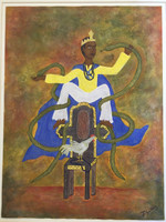 "Javier Gallosa #3176. ""El patron de los medicos,"" 2003. Mixed media, acrylic and sand on paper. 20 x 15 inches."